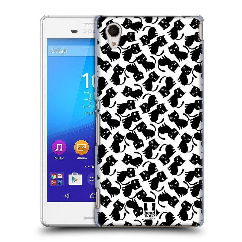 Plastové pouzdro na mobil Sony Xperia M4 Aqua E2303 HEAD CASE KOČKY Black Pattern (Kryt či obal na mobilní telefon Sony Xperia M4 Aqua a M4 Aqua Dual SIM)