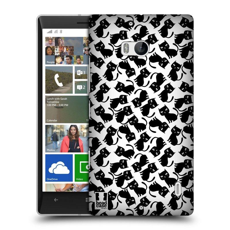 Pouzdro na mobil Nokia Lumia 930 HEAD CASE KOČKY Black Pattern (Kryt či obal na mobilní telefon Nokia Lumia 930)