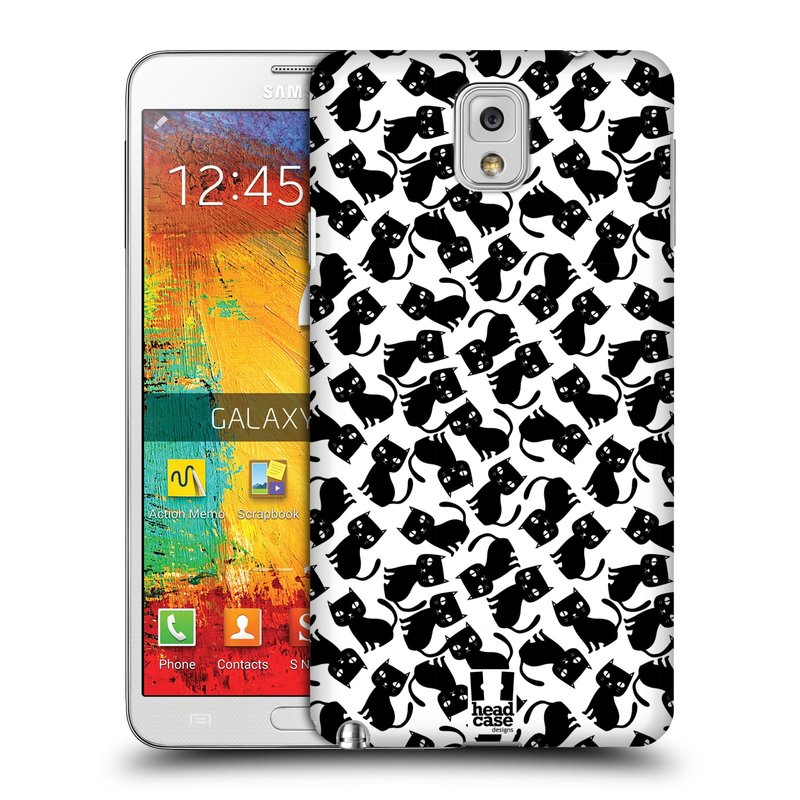 Plastové pouzdro na mobil Samsung Galaxy Note 3 HEAD CASE KOČKY Black Pattern (Kryt či obal na mobilní telefon Samsung Galaxy Note 3 SM-N9005)