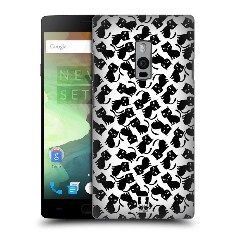 Plastové pouzdro na mobil OnePlus Two HEAD CASE KOČKY Black Pattern (Kryt či obal na mobilní telefon OnePlus Two)