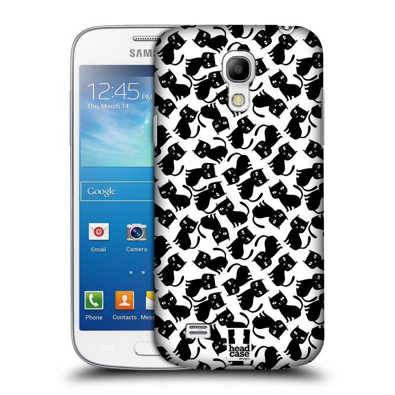 Plastové pouzdro na mobil Samsung Galaxy S4 Mini HEAD CASE KOČKY Black Pattern (Kryt či obal na mobilní telefon Samsung Galaxy S4 Mini GT-i9195 / i9190 (nepasuje na verzi Black Edition))
