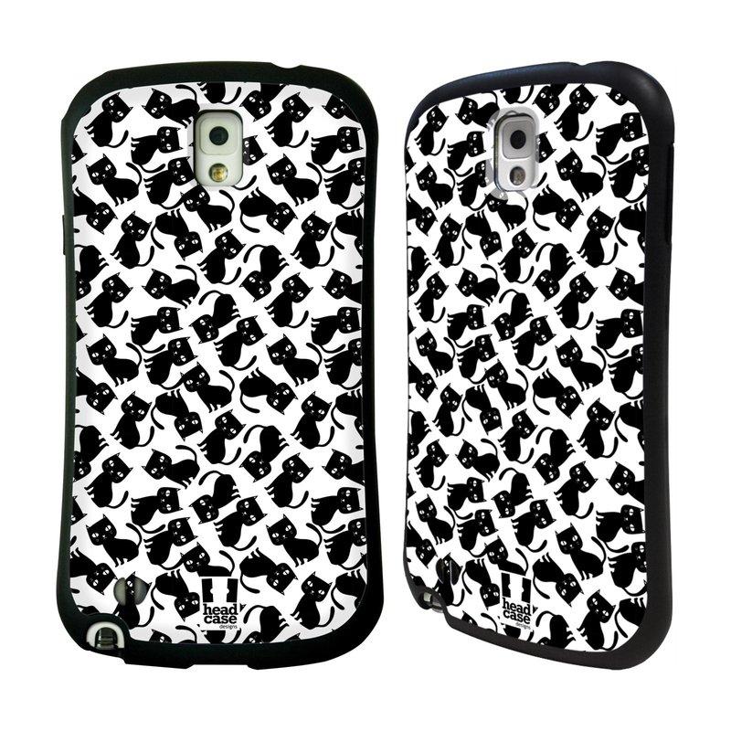 Nárazuvzdorné pouzdro na mobil Samsung Galaxy Note 3 HEAD CASE KOČKY Black Pattern (Odolný nárazuvzdorný silikonový kryt či obal na mobilní telefon Samsung Galaxy Note 3 SM-N9005)