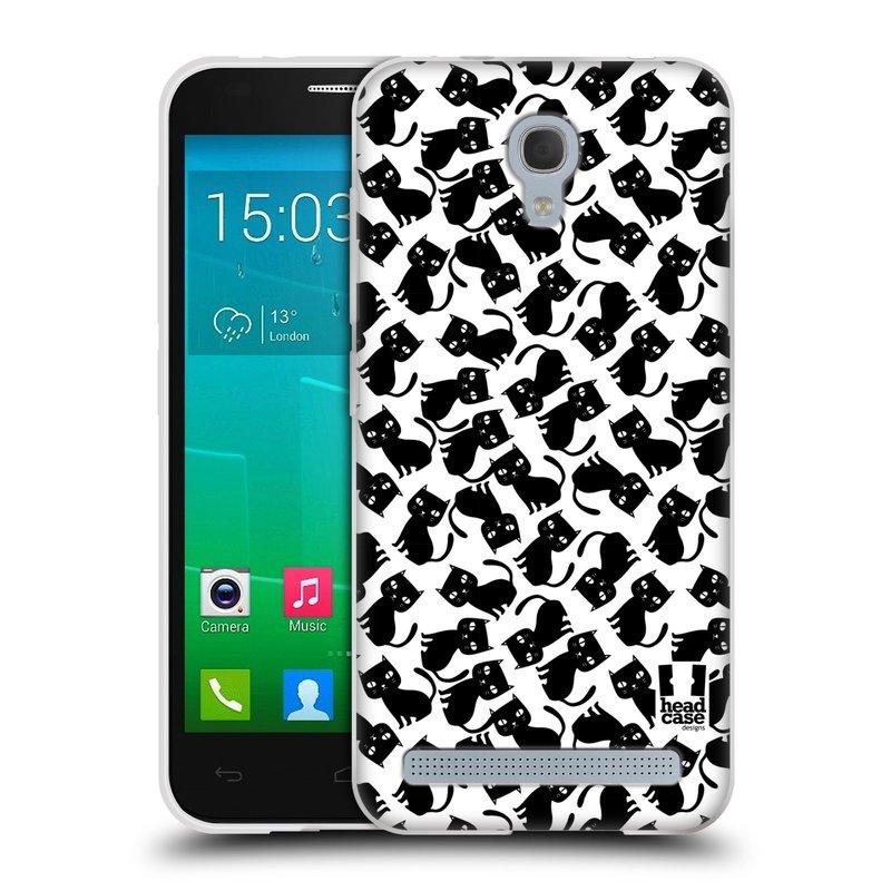 Silikonové pouzdro na mobil Alcatel One Touch Idol 2 Mini S 6036Y HEAD CASE KOČKY Black Pattern (Silikonový kryt či obal na mobilní telefon Alcatel Idol 2 Mini S OT-6036Y)