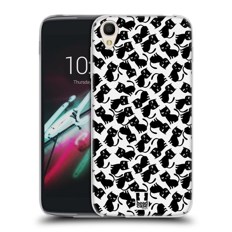 """Silikonové pouzdro na mobil Alcatel One Touch 6039Y Idol 3 HEAD CASE KOČKY Black Pattern (Silikonový kryt či obal na mobilní telefon Alcatel One Touch Idol 3 OT-6039Y s 4,7"""" displejem)"""