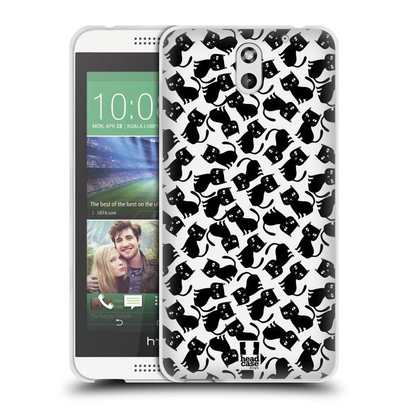 Silikonové pouzdro na mobil HTC Desire 610 HEAD CASE KOČKY Black Pattern (Silikonový kryt či obal na mobilní telefon HTC Desire 610)