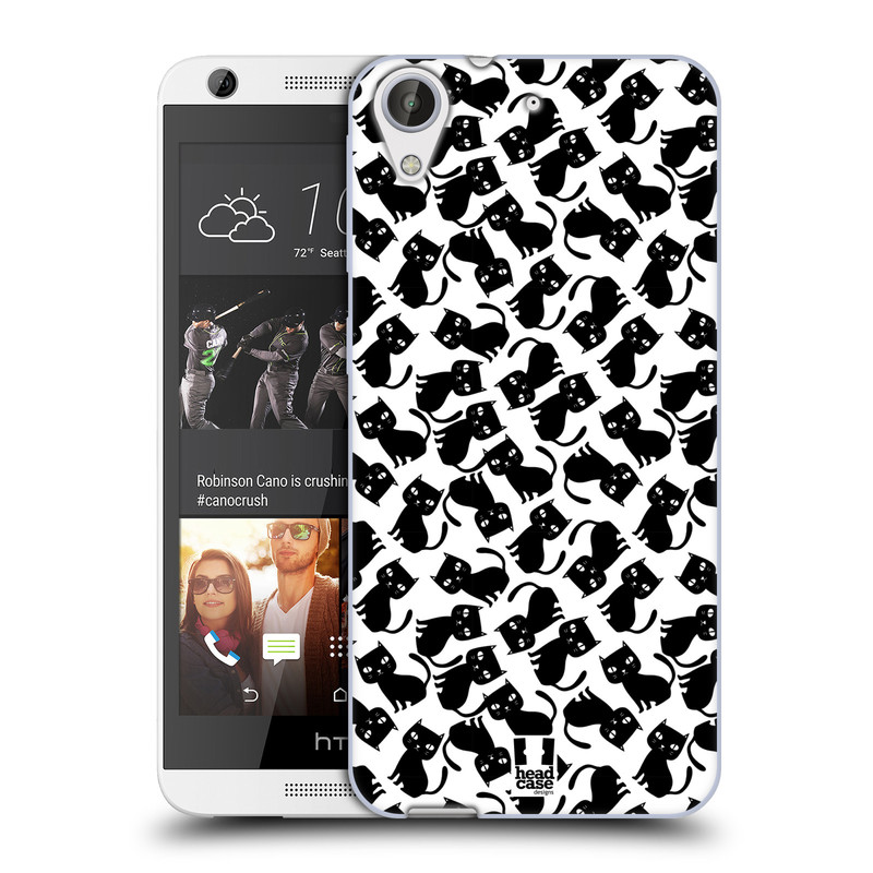 Silikonové pouzdro na mobil HTC Desire 626 / 626G HEAD CASE KOČKY Black Pattern (Silikonový kryt či obal na mobilní telefon HTC Desire 626 a 626G Dual SIM)