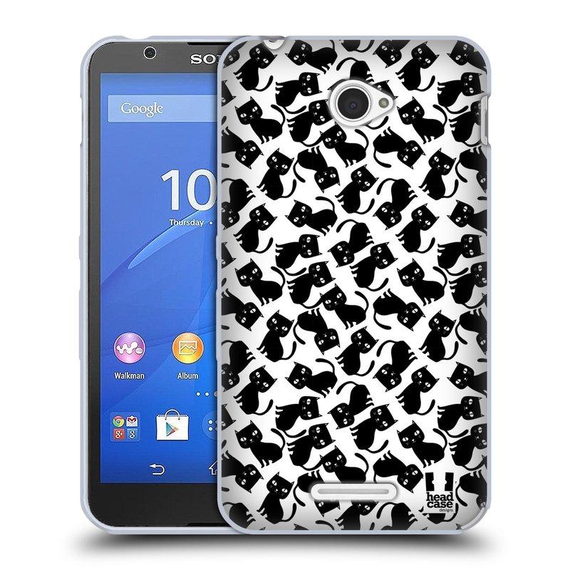 Silikonové pouzdro na mobil Sony Xperia E4 E2105 HEAD CASE KOČKY Black Pattern (Silikonový kryt či obal na mobilní telefon Sony Xperia E4 a E4 Dual SIM)