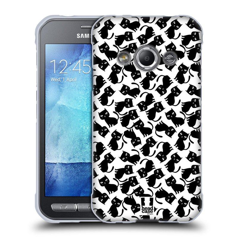Silikonové pouzdro na mobil Samsung Galaxy Xcover 3 HEAD CASE KOČKY Black Pattern (Silikonový kryt či obal na mobilní telefon Samsung Galaxy Xcover 3 SM-G388F)