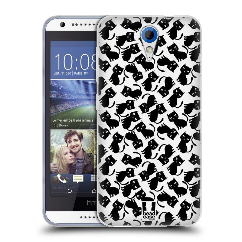 Silikonové pouzdro na mobil HTC Desire 620 HEAD CASE KOČKY Black Pattern (Silikonový kryt či obal na mobilní telefon HTC Desire 620)