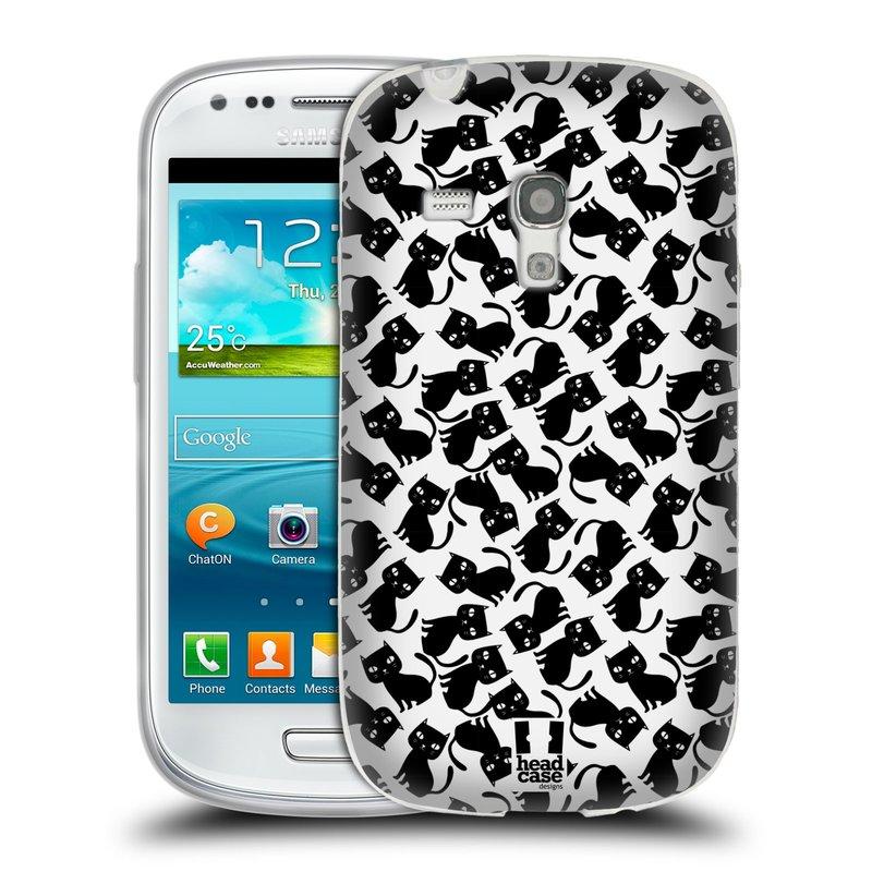 Silikonové pouzdro na mobil Samsung Galaxy S3 Mini VE HEAD CASE KOČKY Black Pattern (Silikonový kryt či obal na mobilní telefon Samsung Galaxy S3 Mini VE GT-i8200)