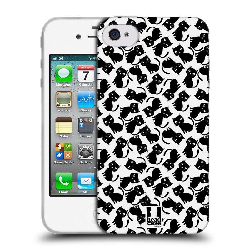 Silikonové pouzdro na mobil Apple iPhone 4 a 4S HEAD CASE KOČKY Black Pattern (Silikonový kryt či obal na mobilní telefon Apple iPhone 4 a 4S)