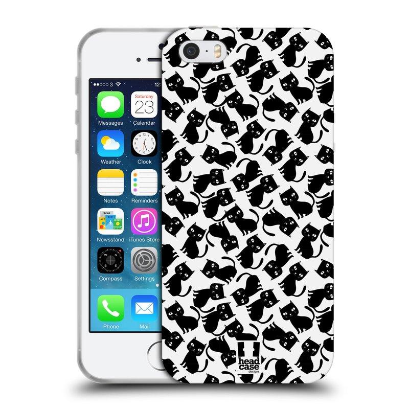 Silikonové pouzdro na mobil Apple iPhone SE, 5 a 5S HEAD CASE KOČKY Black Pattern (Silikonový kryt či obal na mobilní telefon Apple iPhone SE, 5 a 5S)