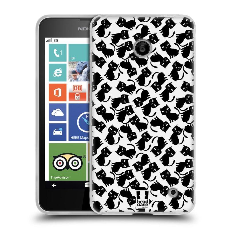 Silikonové pouzdro na mobil Nokia Lumia 630 HEAD CASE KOČKY Black Pattern (Silikonový kryt či obal na mobilní telefon Nokia Lumia 630 a Nokia Lumia 630 Dual SIM)