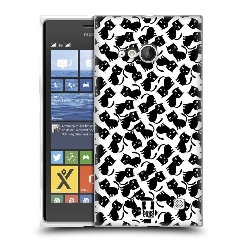 Silikonové pouzdro na mobil Nokia Lumia 730 Dual SIM HEAD CASE KOČKY Black Pattern (Silikonový kryt či obal na mobilní telefon Nokia Lumia 730 Dual SIM)