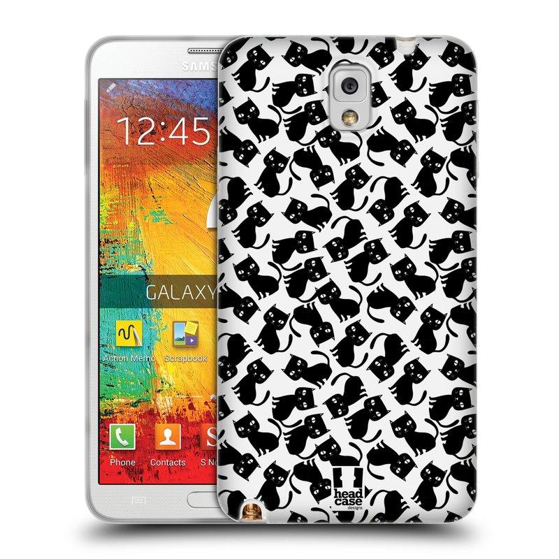 Silikonové pouzdro na mobil Samsung Galaxy Note 3 HEAD CASE KOČKY Black Pattern (Silikonový kryt či obal na mobilní telefon Samsung Galaxy Note 3 SM-N9005)