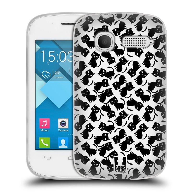 Silikonové pouzdro na mobil Alcatel One Touch Pop C1 HEAD CASE KOČKY Black Pattern (Silikonový kryt či obal na mobilní telefon Alcatel OT-4015D POP C1)
