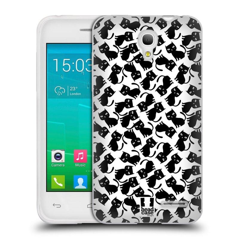 Silikonové pouzdro na mobil Alcatel One Touch Pop S3 HEAD CASE KOČKY Black Pattern (Silikonový kryt či obal na mobilní telefon Alcatel OT- 5050Y POP S3)