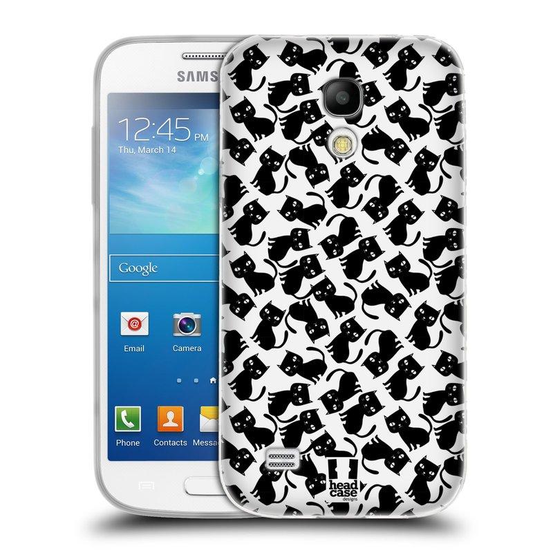 Silikonové pouzdro na mobil Samsung Galaxy S4 Mini VE HEAD CASE KOČKY Black Pattern (Silikonový kryt či obal na mobilní telefon Samsung Galaxy S4 Mini VE GT-i9195i (nepasuje na verzi Black Edition))