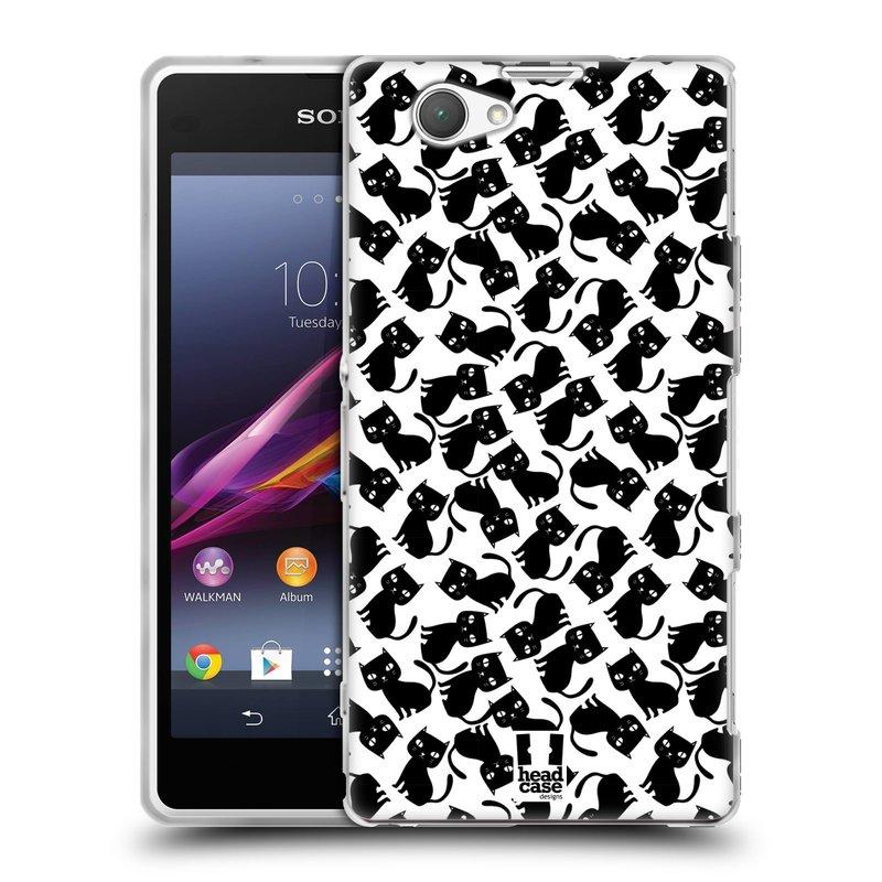 Silikonové pouzdro na mobil Sony Xperia Z1 Compact D5503 HEAD CASE KOČKY Black Pattern (Silikonový kryt či obal na mobilní telefon Sony Xperia Z1 Compact)