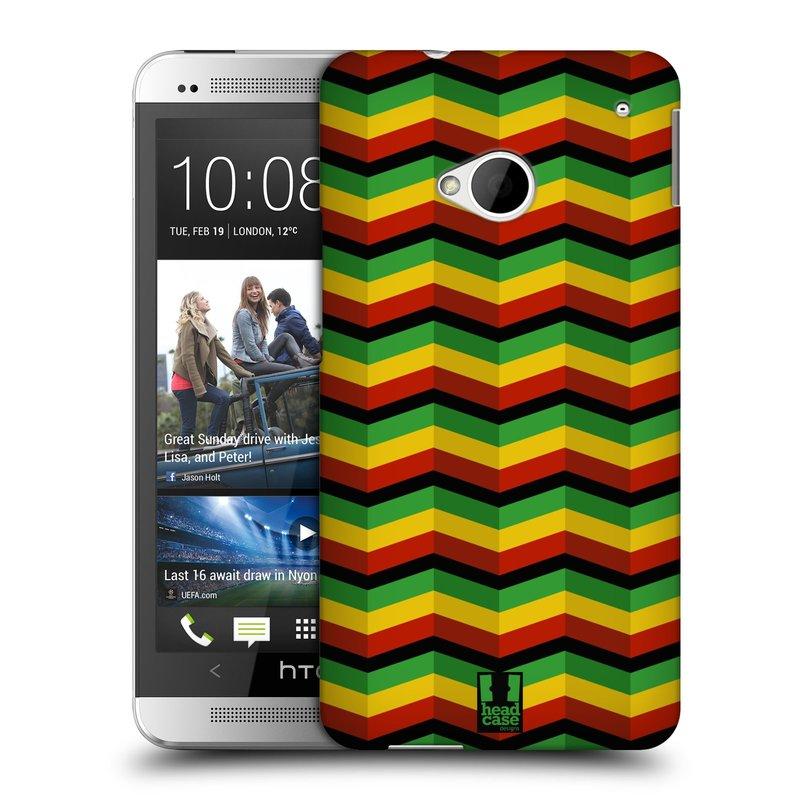 Plastové pouzdro na mobil HTC ONE M7 HEAD CASE RASTA CHEVRON (Kryt či obal na mobilní telefon HTC ONE M7)