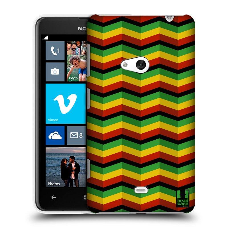 Plastové pouzdro na mobil Nokia Lumia 625 HEAD CASE RASTA CHEVRON (Kryt či obal na mobilní telefon Nokia Lumia 625)
