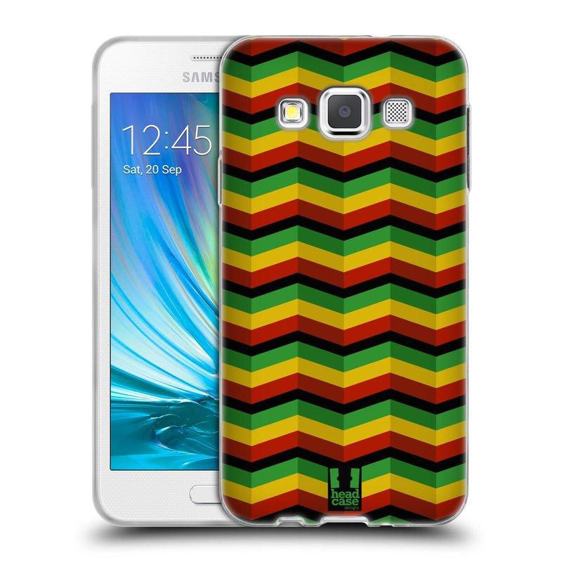 Silikonové pouzdro na mobil Samsung Galaxy A3 HEAD CASE RASTA CHEVRON (Silikonový kryt či obal na mobilní telefon Samsung Galaxy A3 SM-A300)