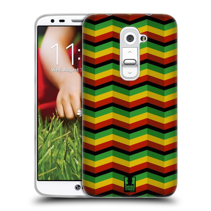 Silikonové pouzdro na mobil LG G2 HEAD CASE RASTA CHEVRON (Silikonový kryt či obal na mobilní telefon LG G2 D802)