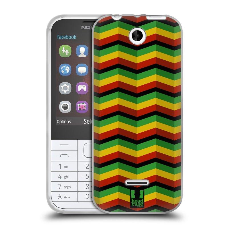 Silikonové pouzdro na mobil Nokia 225 HEAD CASE RASTA CHEVRON (Silikonový kryt či obal na mobilní telefon Nokia 225)