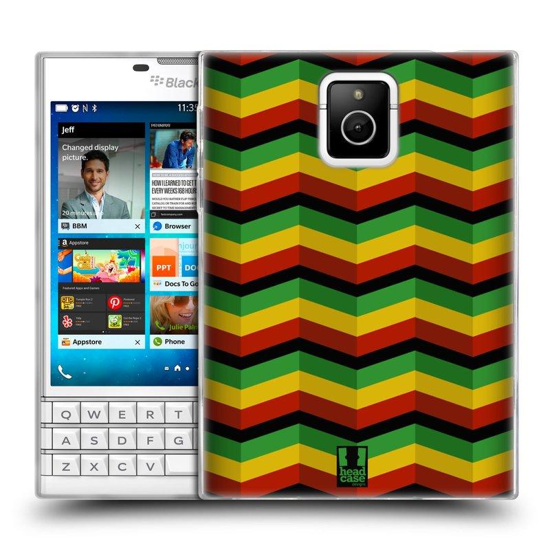 Silikonové pouzdro na mobil Blackberry PASSPORT HEAD CASE RASTA CHEVRON (Silikonový kryt či obal na mobilní telefon Blackberry PASSPORT)