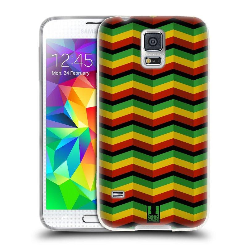 Silikonové pouzdro na mobil Samsung Galaxy S5 HEAD CASE RASTA CHEVRON (Silikonový kryt či obal na mobilní telefon Samsung Galaxy S5 SM-G900F)
