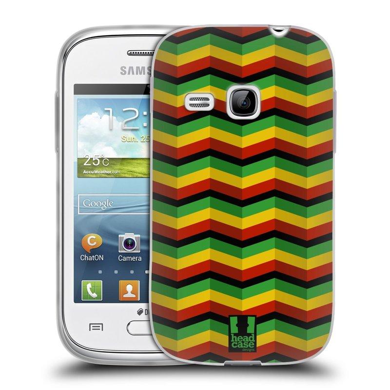 Silikonové pouzdro na mobil Samsung Galaxy Young HEAD CASE RASTA CHEVRON (Silikonový kryt či obal na mobilní telefon Samsung Galaxy Young GT-S6310)