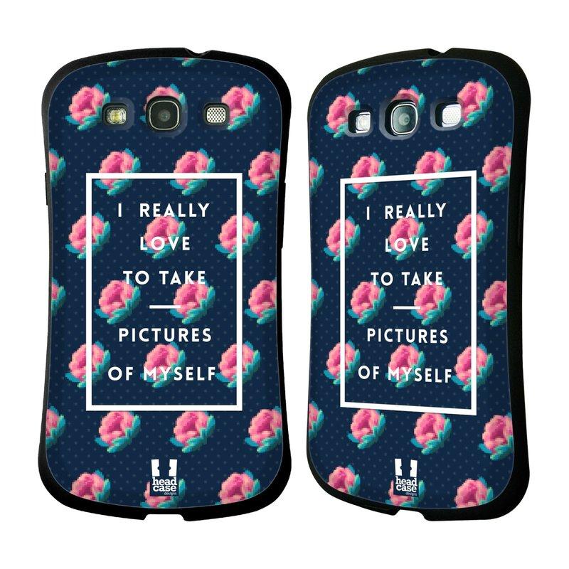 Nárazuvzdorné pouzdro na mobil Samsung Galaxy S III HEAD CASE SELFIE I LOVE (Odolný nárazuvzdorný silikonový kryt či obal na mobilní telefon Samsung Galaxy S III GT-i9300)