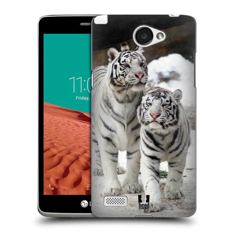 Plastové pouzdro na mobil LG Bello II HEAD CASE BÍLÍ TYGŘI (Kryt či obal na mobilní telefon LG Bello 2 X150)