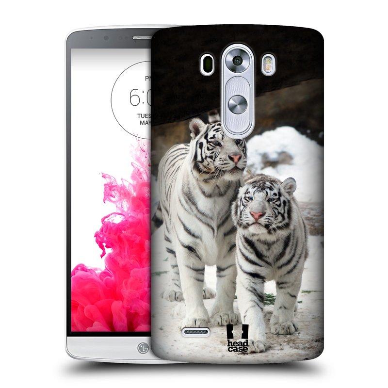 Plastové pouzdro na mobil LG G3 HEAD CASE BÍLÍ TYGŘI (Kryt či obal na mobilní telefon LG G3 D855)