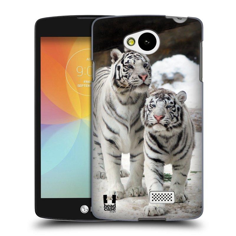 Plastové pouzdro na mobil LG F60 HEAD CASE BÍLÍ TYGŘI (Kryt či obal na mobilní telefon LG F60 D390n)