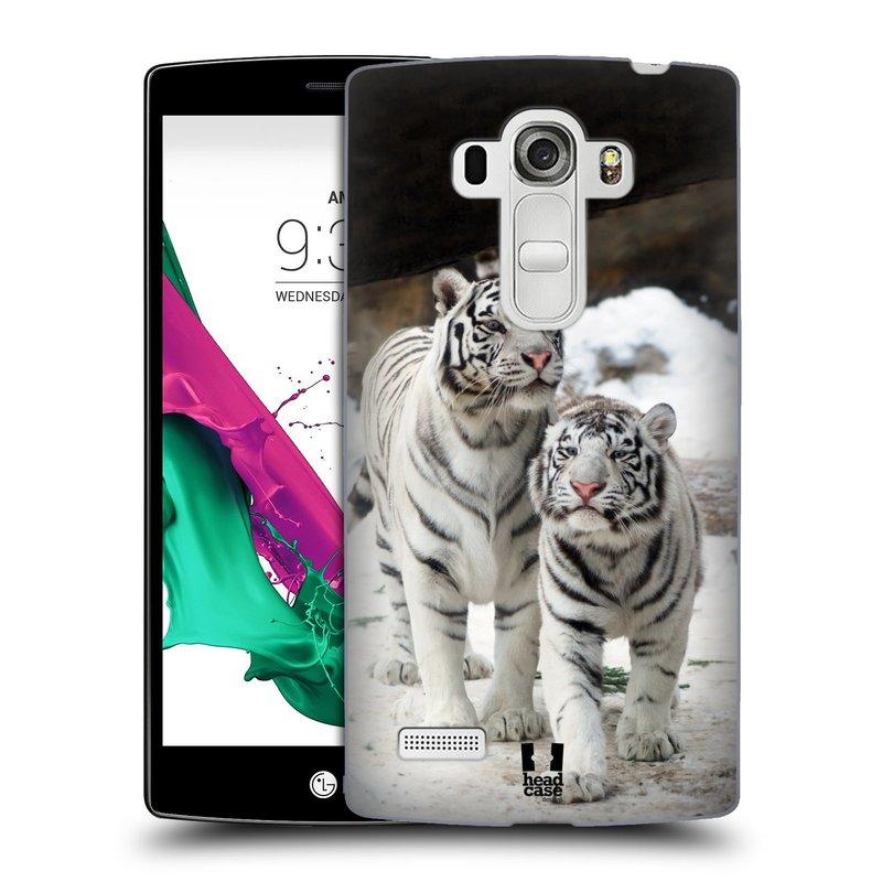 Plastové pouzdro na mobil LG G4s HEAD CASE BÍLÍ TYGŘI (Kryt či obal na mobilní telefon LG G4s H735n)