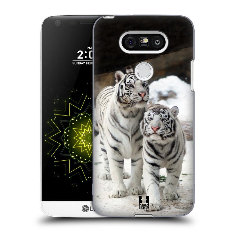 Plastové pouzdro na mobil LG G5 HEAD CASE BÍLÍ TYGŘI (Kryt či obal na mobilní telefon LG G5 H850)
