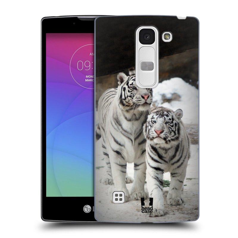 Plastové pouzdro na mobil LG Spirit LTE HEAD CASE BÍLÍ TYGŘI (Kryt či obal na mobilní telefon LG Spirit H420 a LG Spirit LTE H440N)