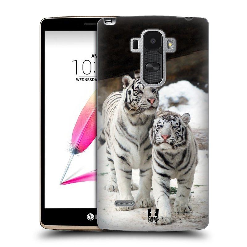 Plastové pouzdro na mobil LG G4 Stylus HEAD CASE BÍLÍ TYGŘI (Kryt či obal na mobilní telefon LG G4 Stylus H635)