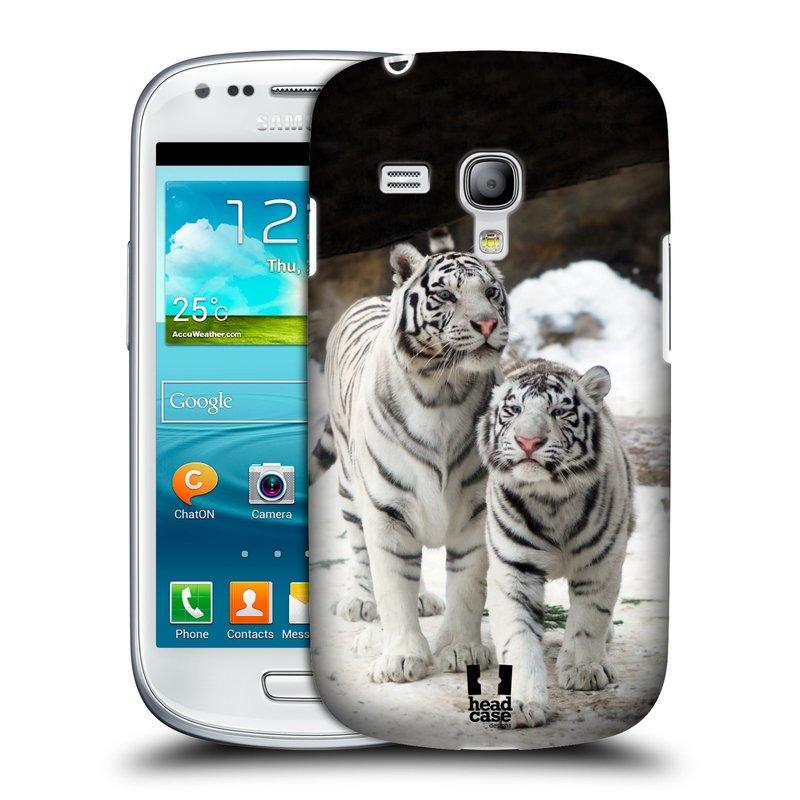 Plastové pouzdro na mobil Samsung Galaxy S3 Mini VE HEAD CASE BÍLÍ TYGŘI (Kryt či obal na mobilní telefon Samsung Galaxy S3 Mini VE GT-i8200)