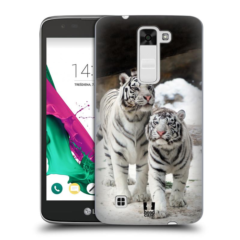 Plastové pouzdro na mobil LG K7 HEAD CASE BÍLÍ TYGŘI (Kryt či obal na mobilní telefon LG K7)