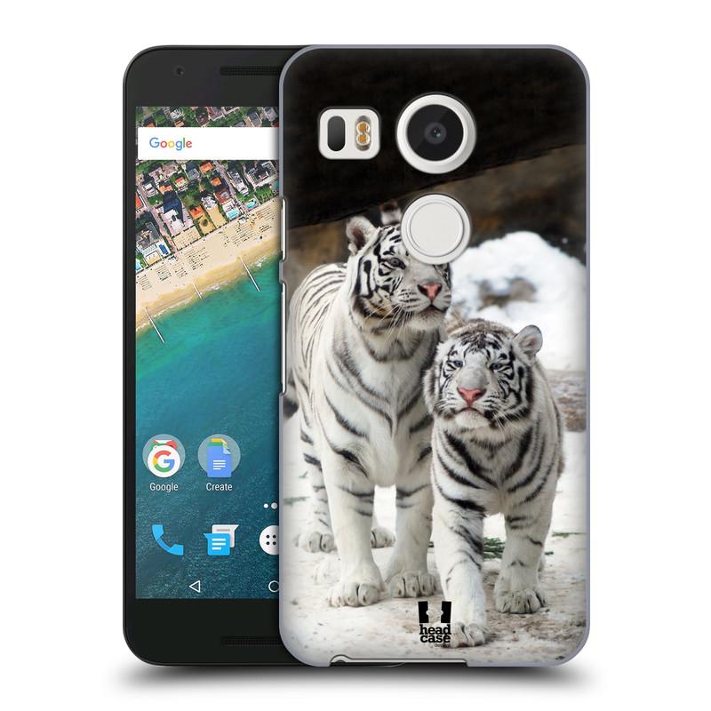 Plastové pouzdro na mobil LG Nexus 5X HEAD CASE BÍLÍ TYGŘI (Kryt či obal na mobilní telefon LG NEXUS 5X H791)
