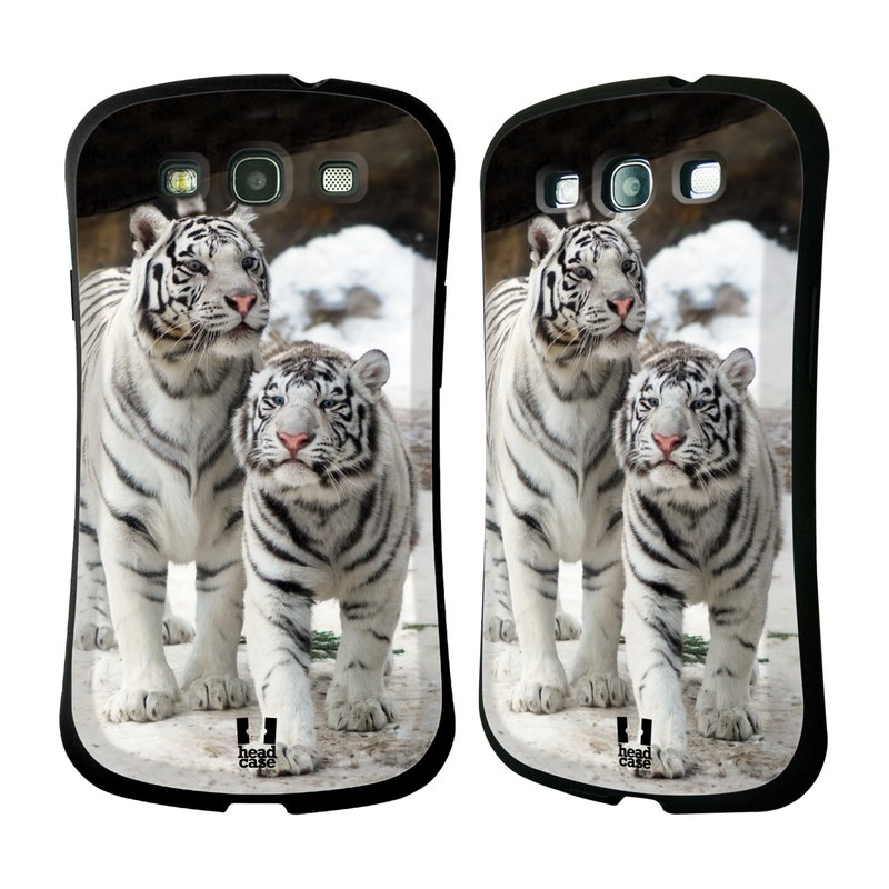 Nárazuvzdorné pouzdro na mobil Samsung Galaxy S3 Neo HEAD CASE BÍLÍ TYGŘI (Odolný nárazuvzdorný silikonový kryt či obal na mobilní telefon Samsung Galaxy S3 Neo GT-i9301i)