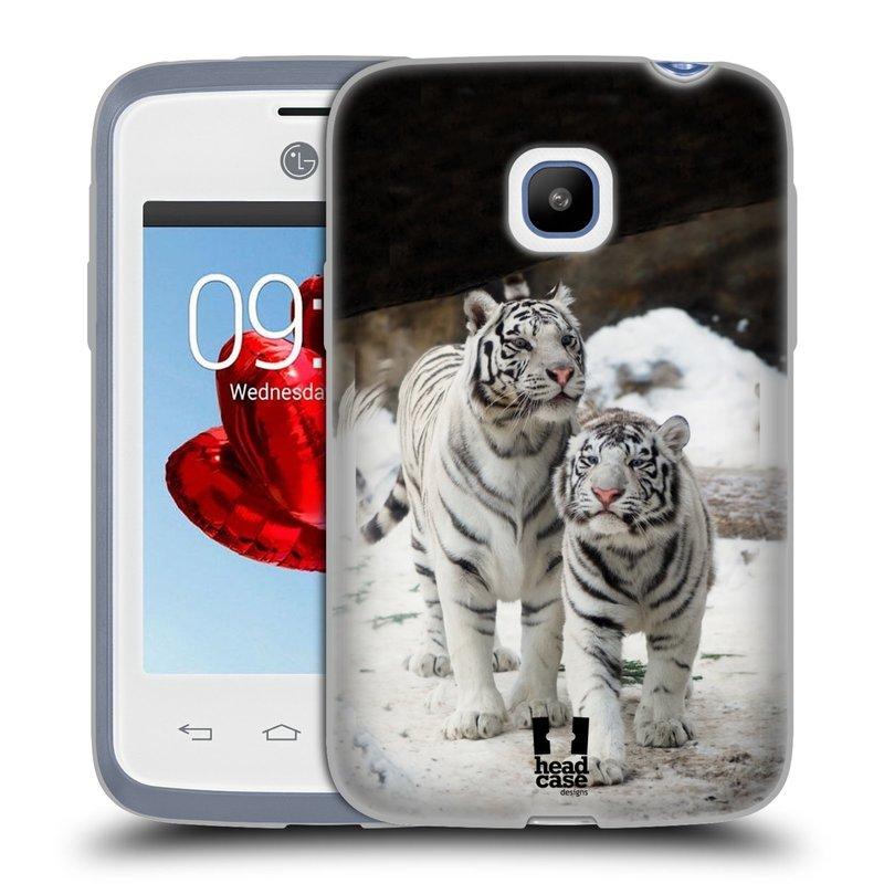 Silikonové pouzdro na mobil LG L20 HEAD CASE BÍLÍ TYGŘI (Silikonový kryt či obal na mobilní telefon LG L20 D107)