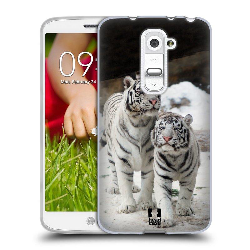 Silikonové pouzdro na mobil LG G2 Mini HEAD CASE BÍLÍ TYGŘI (Silikonový kryt či obal na mobilní telefon LG G2 Mini D620)