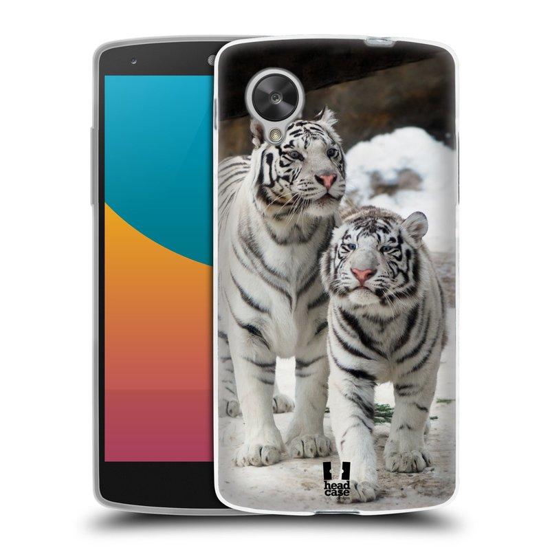 Silikonové pouzdro na mobil LG Nexus 5 HEAD CASE BÍLÍ TYGŘI (Silikonový kryt či obal na mobilní telefon LG Google Nexus 5 D821)
