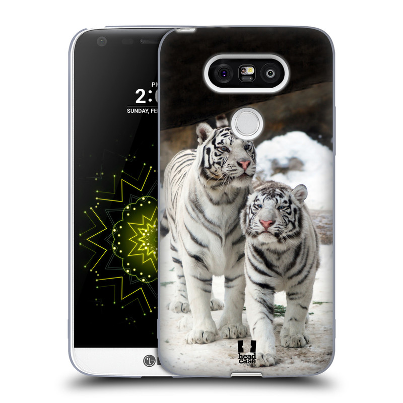 Silikonové pouzdro na mobil LG G5 HEAD CASE BÍLÍ TYGŘI (Silikonový kryt či obal na mobilní telefon LG G5 H850)