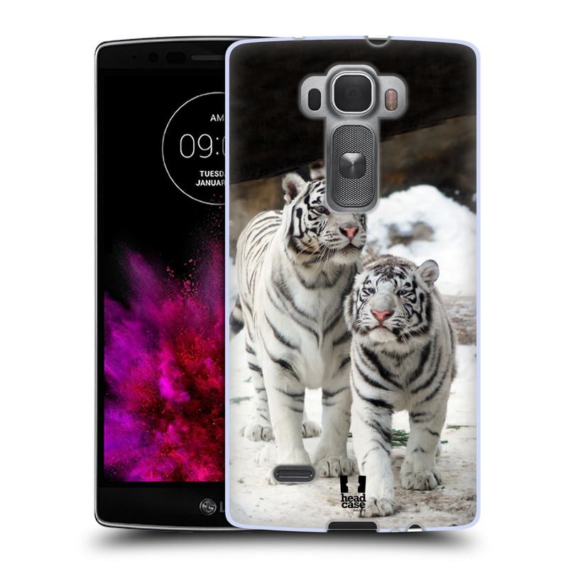 Silikonové pouzdro na mobil LG G Flex 2 HEAD CASE BÍLÍ TYGŘI (Silikonový kryt či obal na mobilní telefon LG G Flex 2 H955)