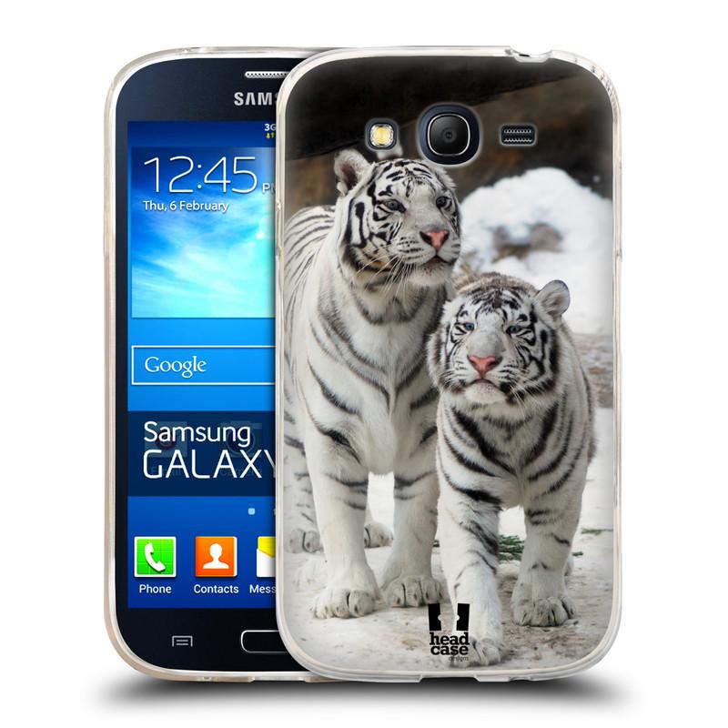 Silikonové pouzdro na mobil Samsung Galaxy Grand Neo HEAD CASE BÍLÍ TYGŘI (Silikonový kryt či obal na mobilní telefon Samsung Galaxy Grand Neo GT-I9060)