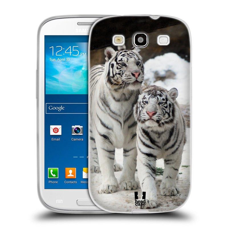 Silikonové pouzdro na mobil Samsung Galaxy S3 Neo HEAD CASE BÍLÍ TYGŘI (Silikonový kryt či obal na mobilní telefon Samsung Galaxy S3 Neo GT-i9301i)